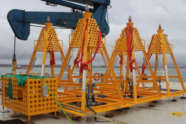 Seabed Transponder frames - on back deck of vessel
